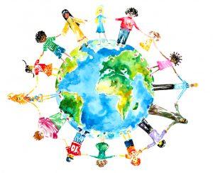 Children holding hands around the globe