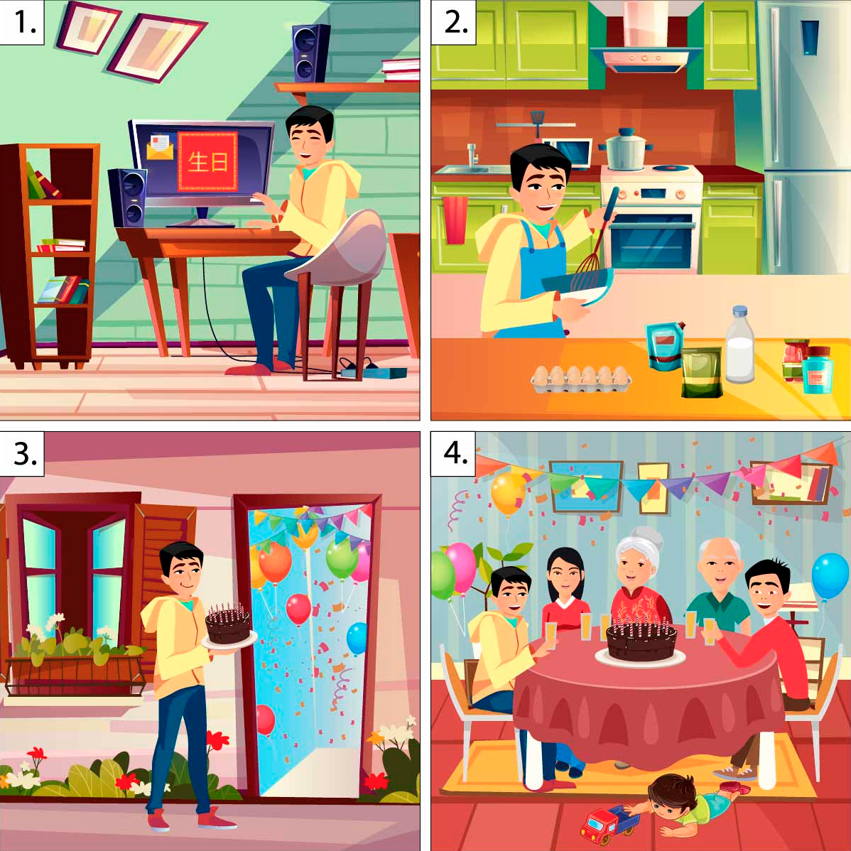 A four-panel illustration showing a student going to a birthday party for his Chinese grandmother.