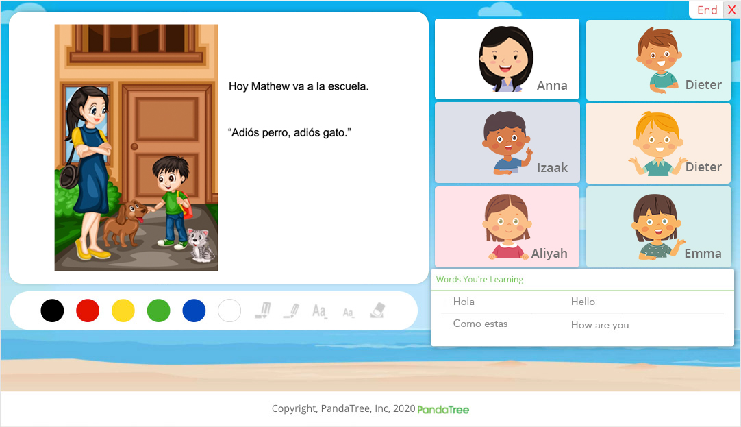 Image of computer screen with a learning pod and a teacher in an online group language lesson.